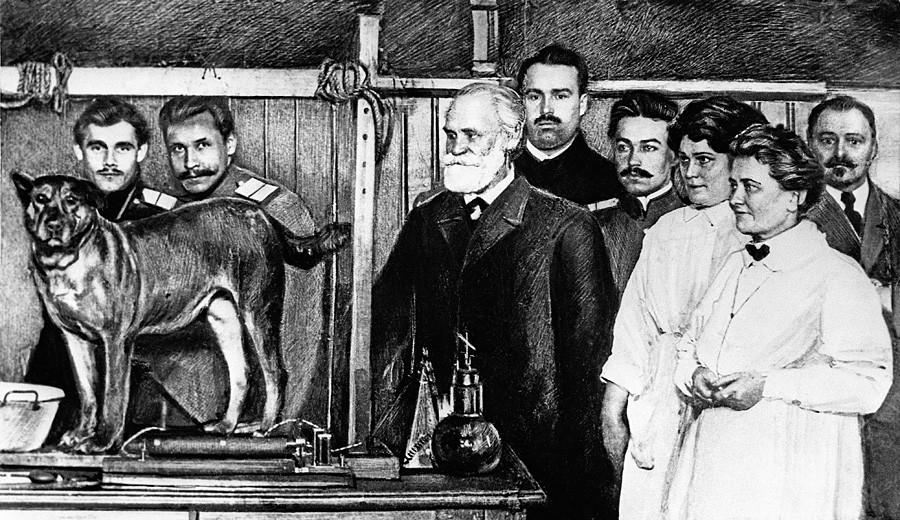 Ivan Pavlov s kolegi na Vojaški medicinski akademiji, Petrograd, 1914.