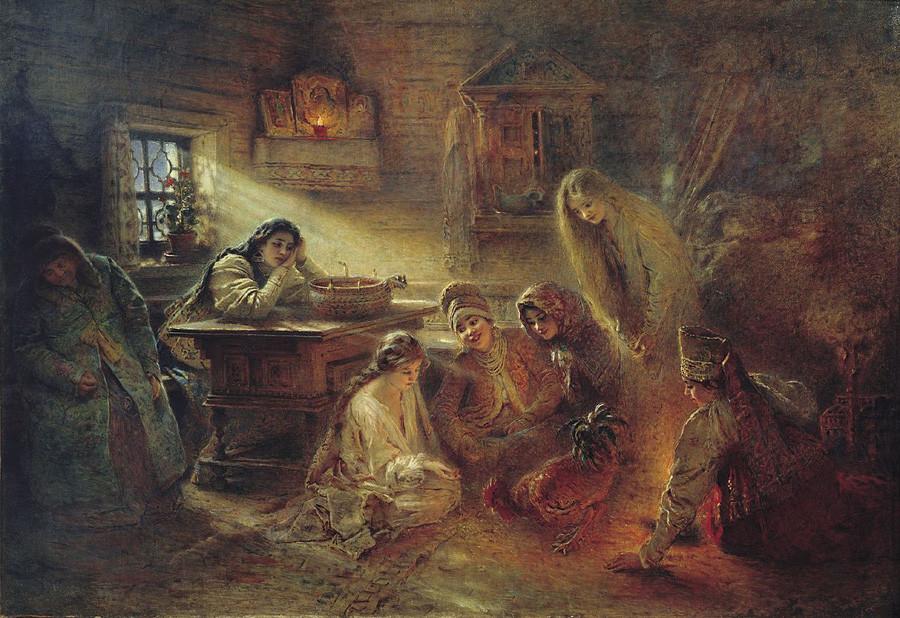 「クリスマスの占い」、コンスタンチン・マコーフスキイ画