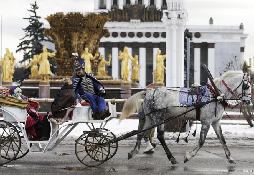 Na sejmu Čarobna zima v Vseruskem izložbenem centru v Moskvi.