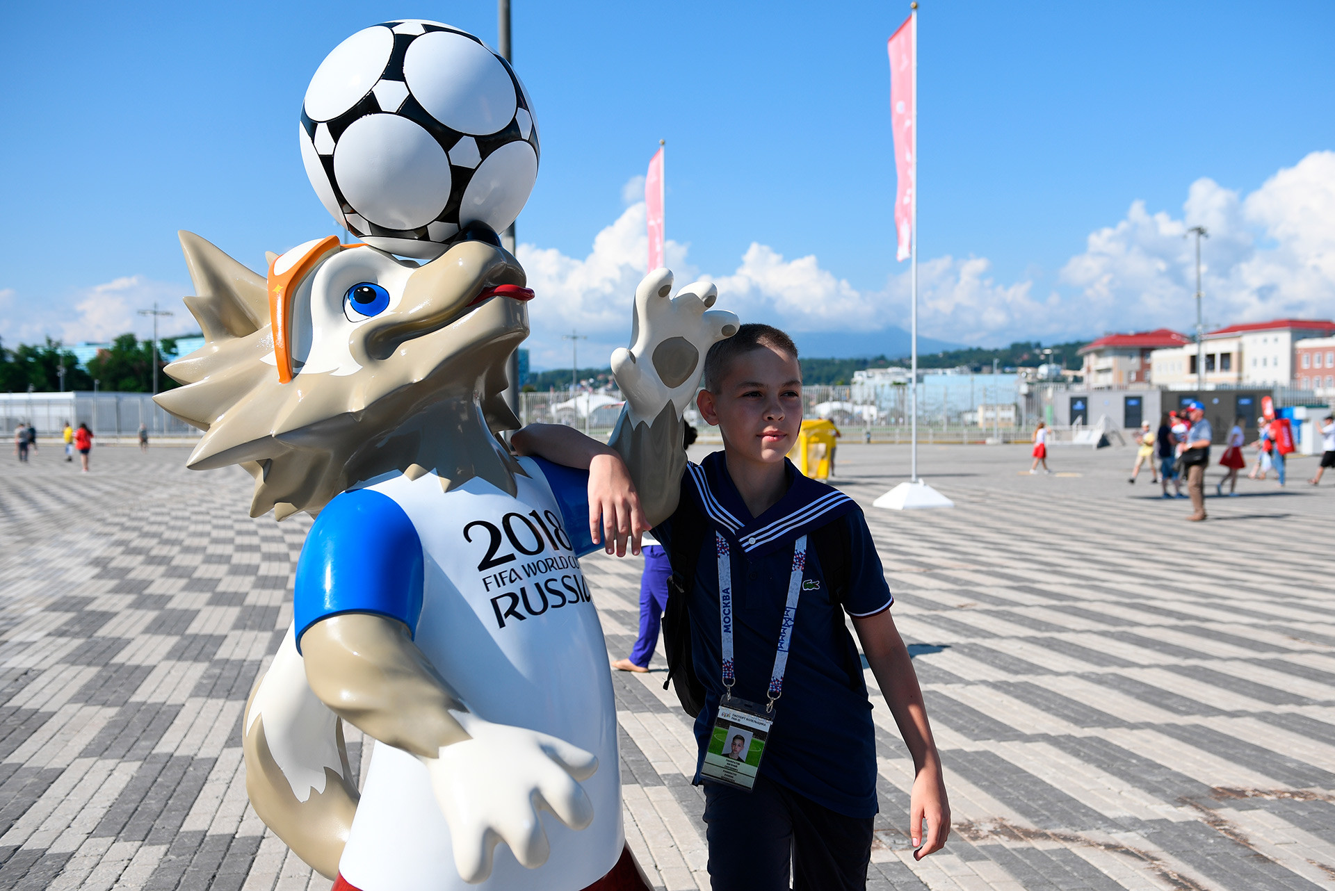 The official mascot of the 2018 FIFA World Cup, Zabivaka the Wolf.