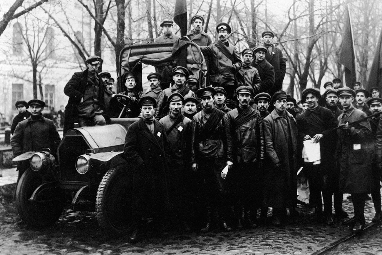 A group of Red Army men. Petrograd, 1917