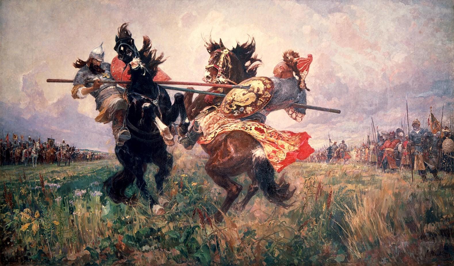 Mihail Ivanovič Avilov (1882-1954), Posameznik na Kulikovem polju, 1943, olje in platno