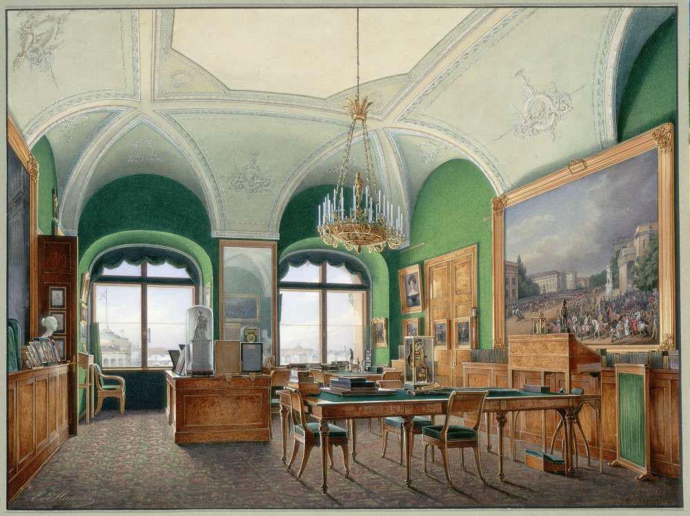 Das große Arbeitszimmer von Nikolai I. im Winterpalast in Sankt Petersburg. Gemälde von Eduard Gau