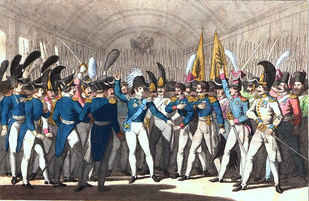 Nikolai I. vor seiner Garde über den Ausbruch des Aufstandes in Polen. Gemälde von Georg Benedikt Wunder