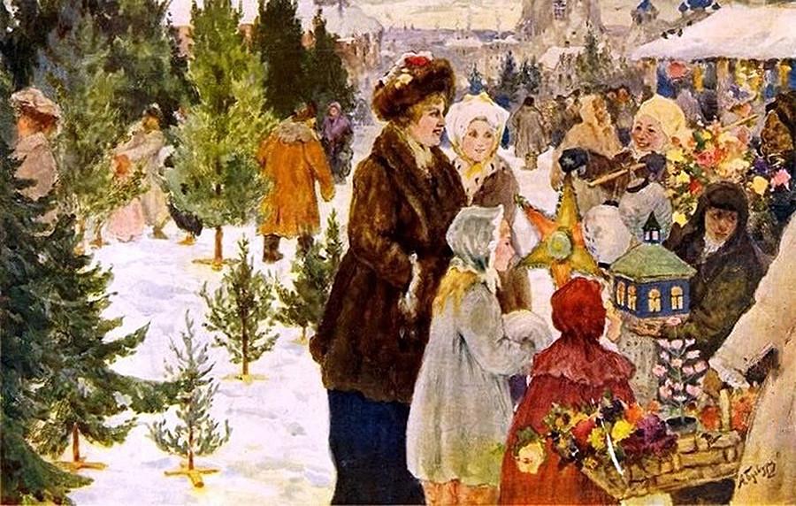 Aleksander Aleksejevič Bučkuri - Božični bazar, 1906