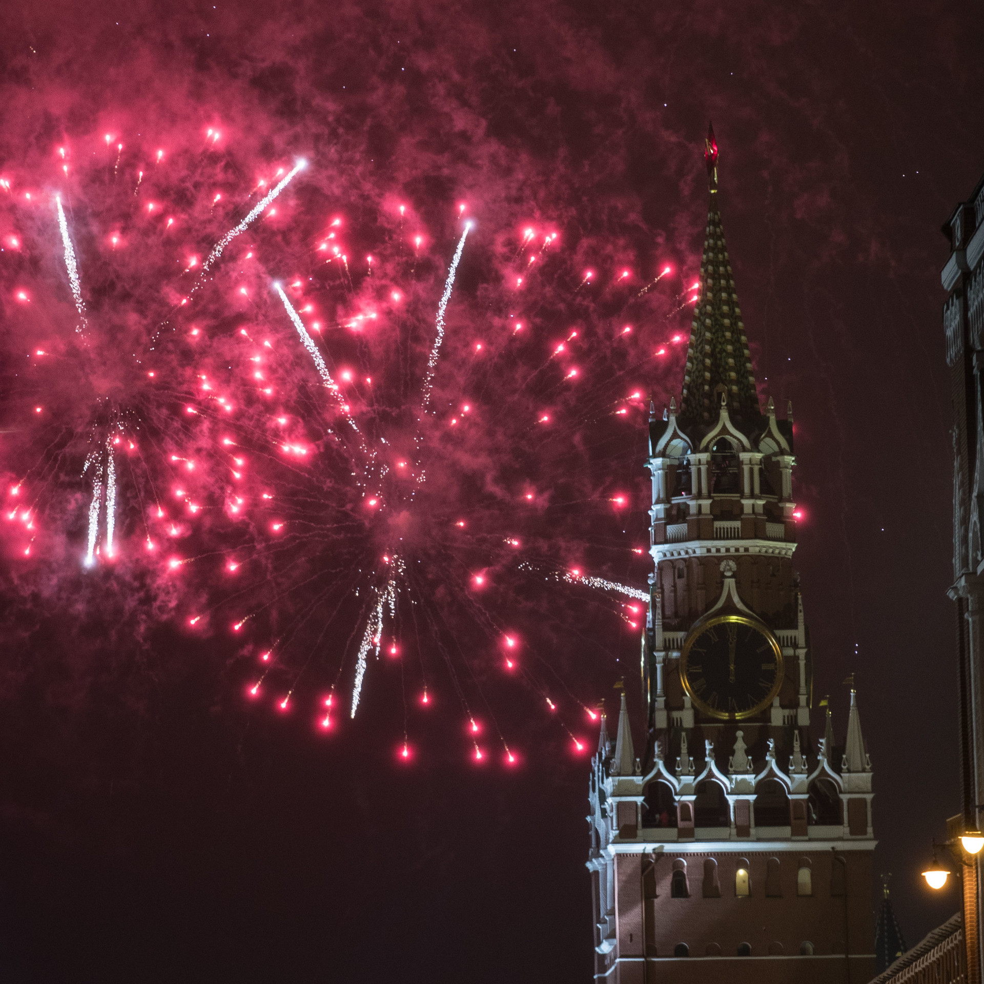 Novoletni ognjemet nad Kremljem, Moskva