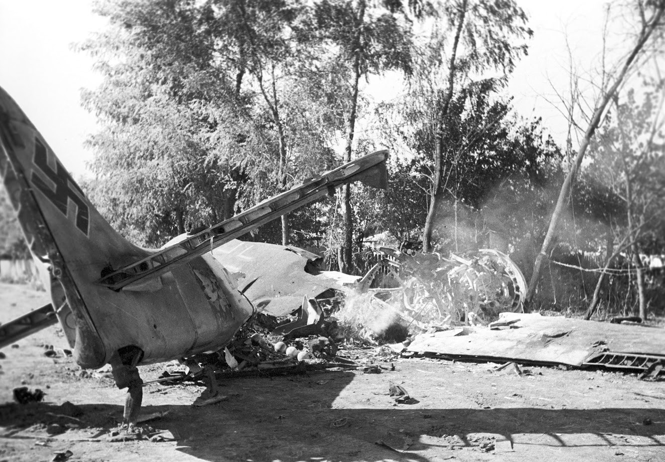 Goreče nemško lovsko letalo, 1941
