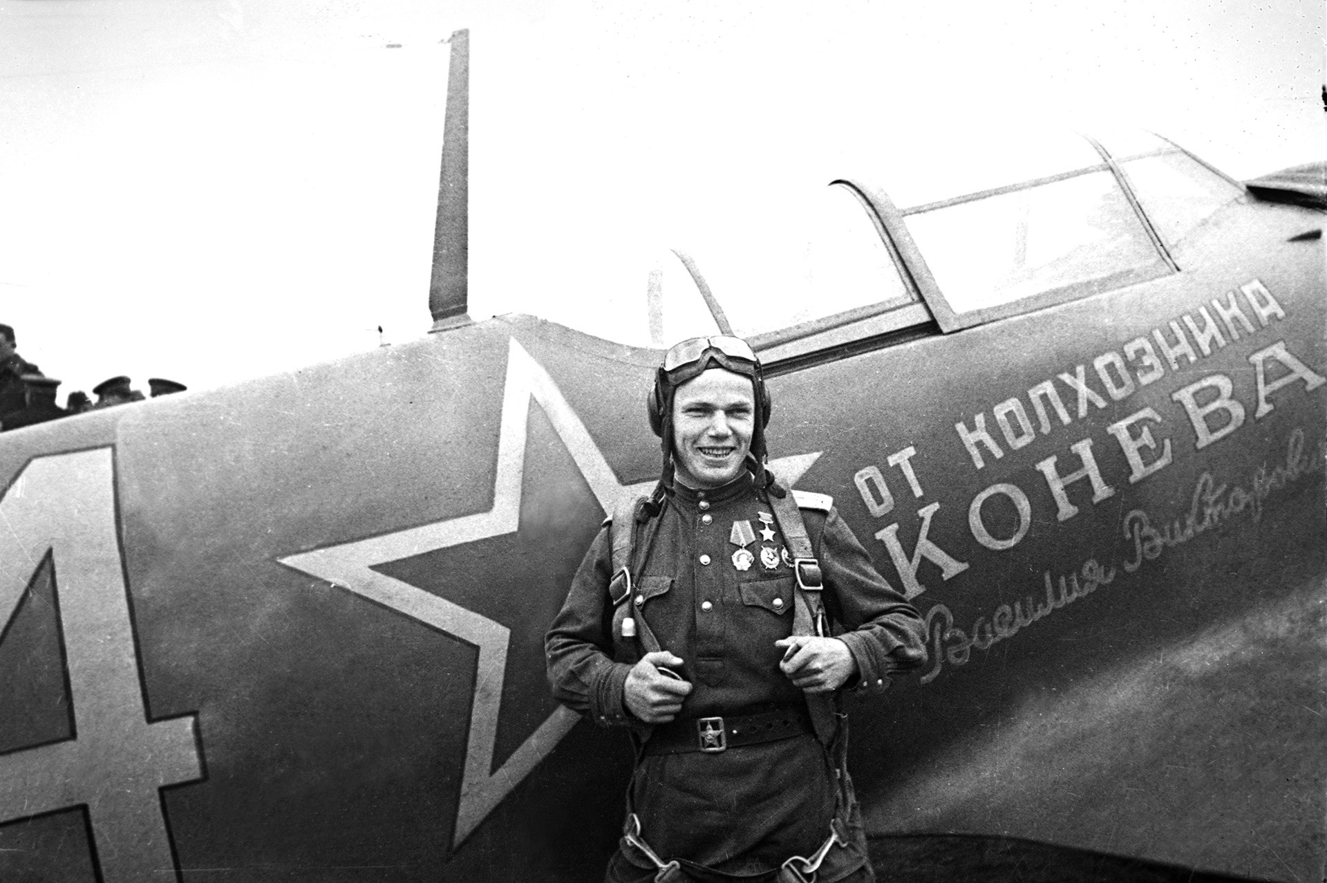 Hero of the Soviet Union, pilot Ivan Kozhedub near Iasi, Romania, 1944