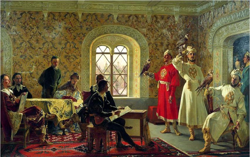 """""""Italijanski odposlanec Calvucci ob slikanju najljubših sokolov carja Alekseja"""", Aleksander Litovčenko (1889)"""