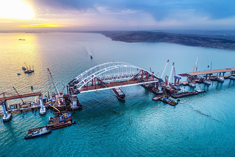 The Crimean Bridge is being built across the Kerch Strait, uniting Russia with Crimea.