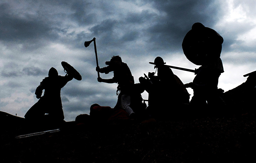 Participants in a historical Viking battle reenactment in Alushta.