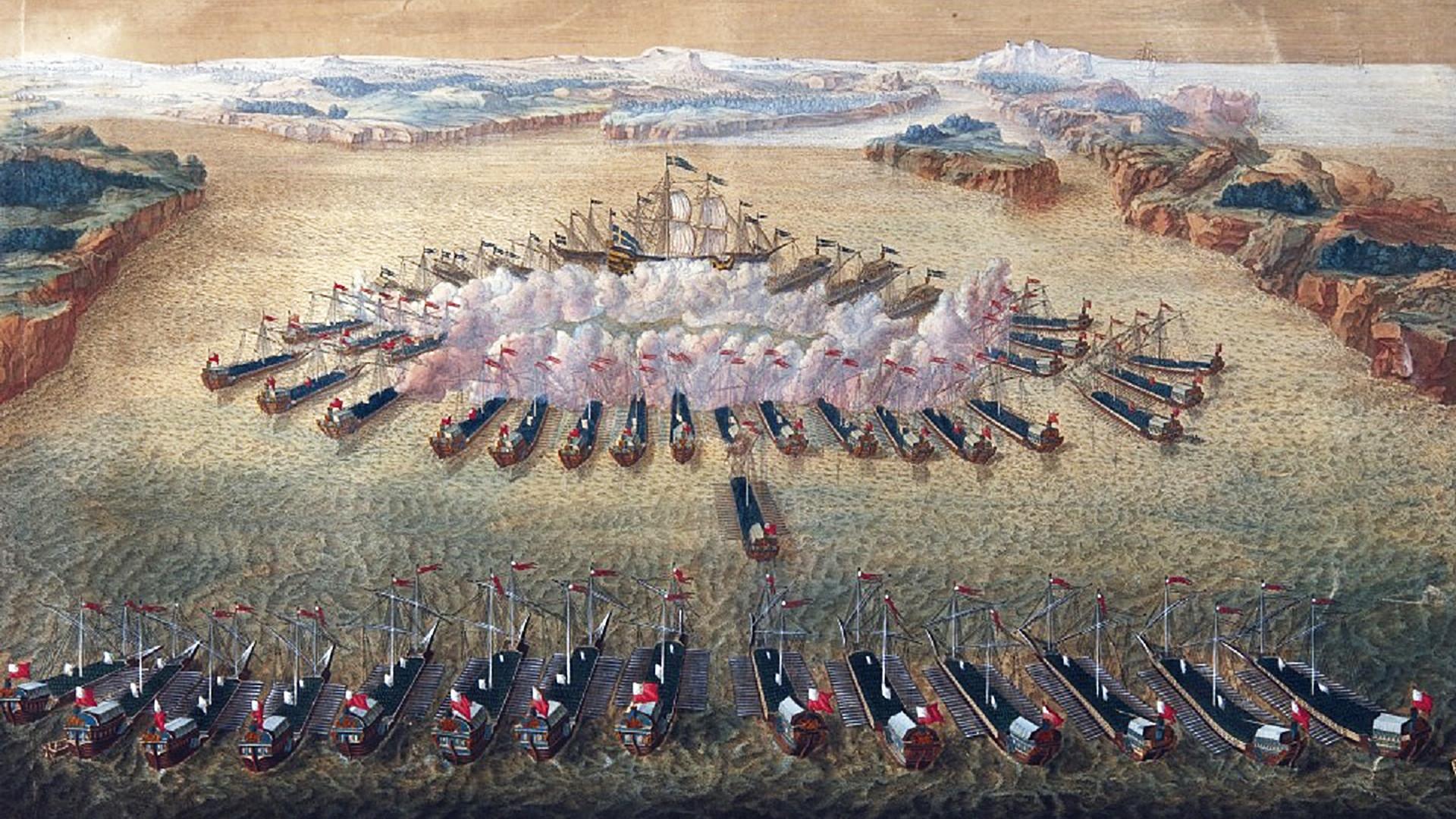 Seeschlacht bei Hanko, Gemälde von Maurice Baquoi