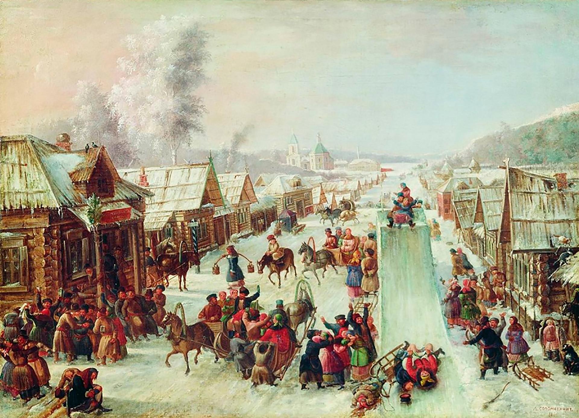 """Леонид Соломаткин. """"Масленица"""", 1878."""