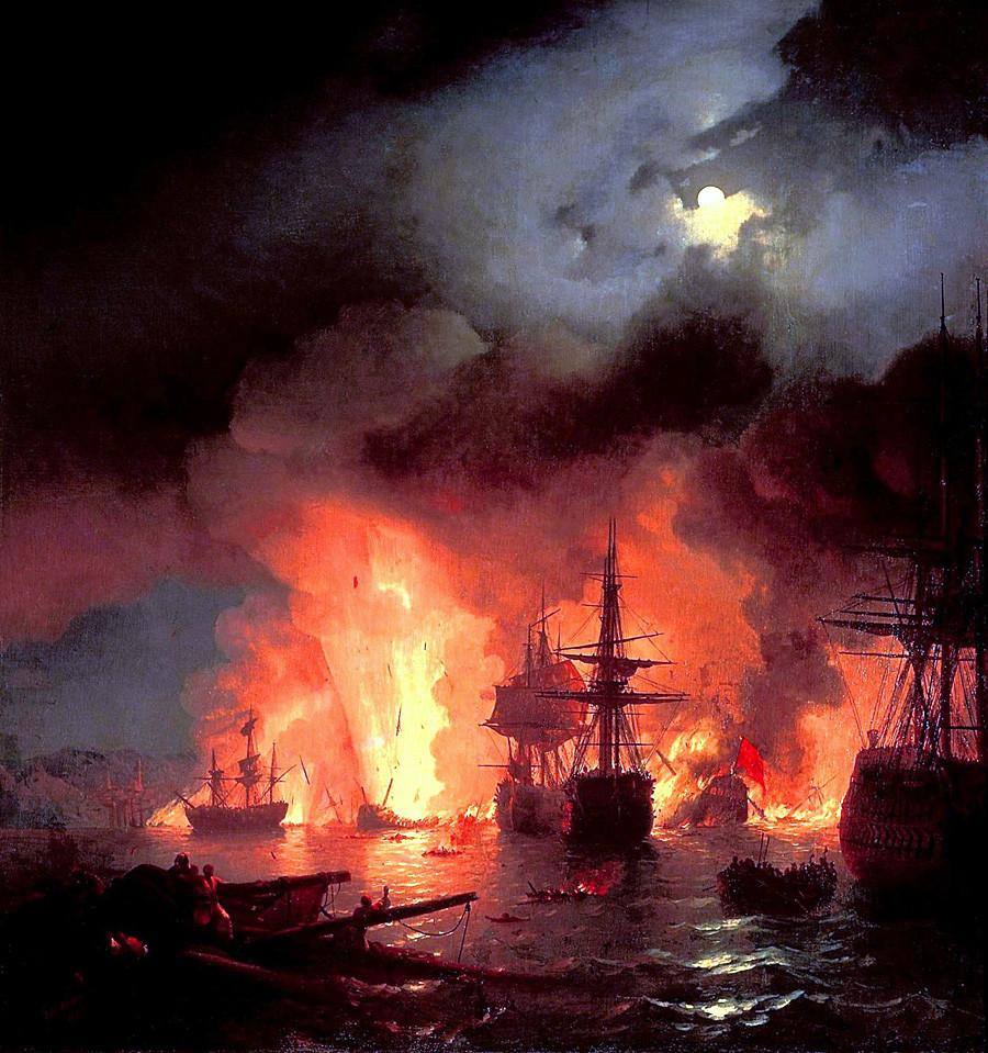 """Иван Ајвазовски, """"Чесменската битка"""", ноќта 25-26 јуни 1770 година."""