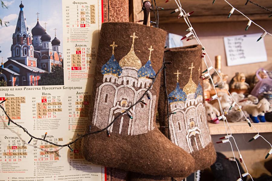 Valenki in Ivan Lapin's felt footwear workshop, Pimokatny Dvor, in Nizhnyaya Yeltsovka, Novosibirsk