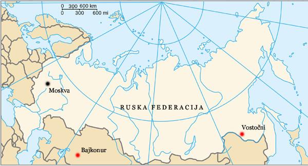 Vostočni je od Bajkonurja oddaljen več kot 4.600 km.