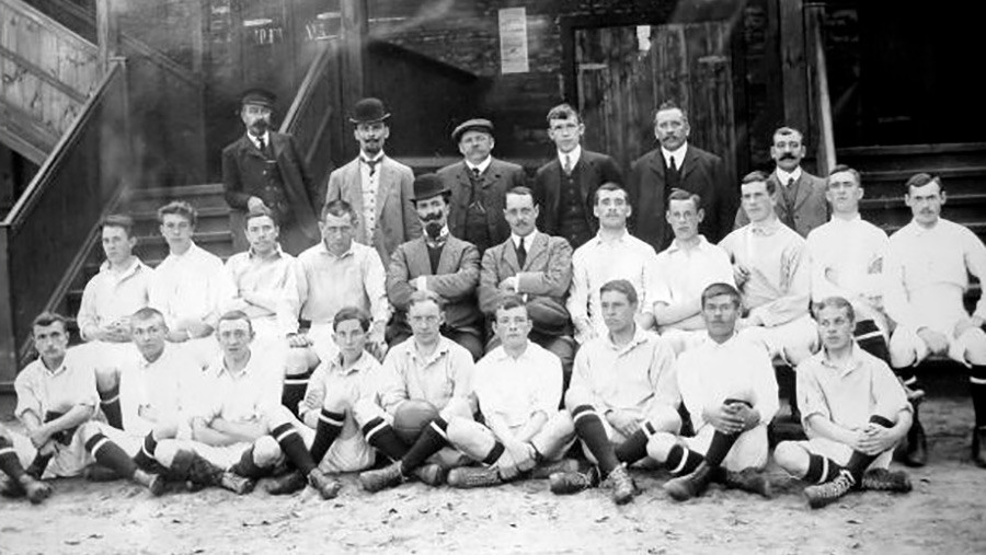 The Orekhovo football team with Harry Charnock (second row, center)