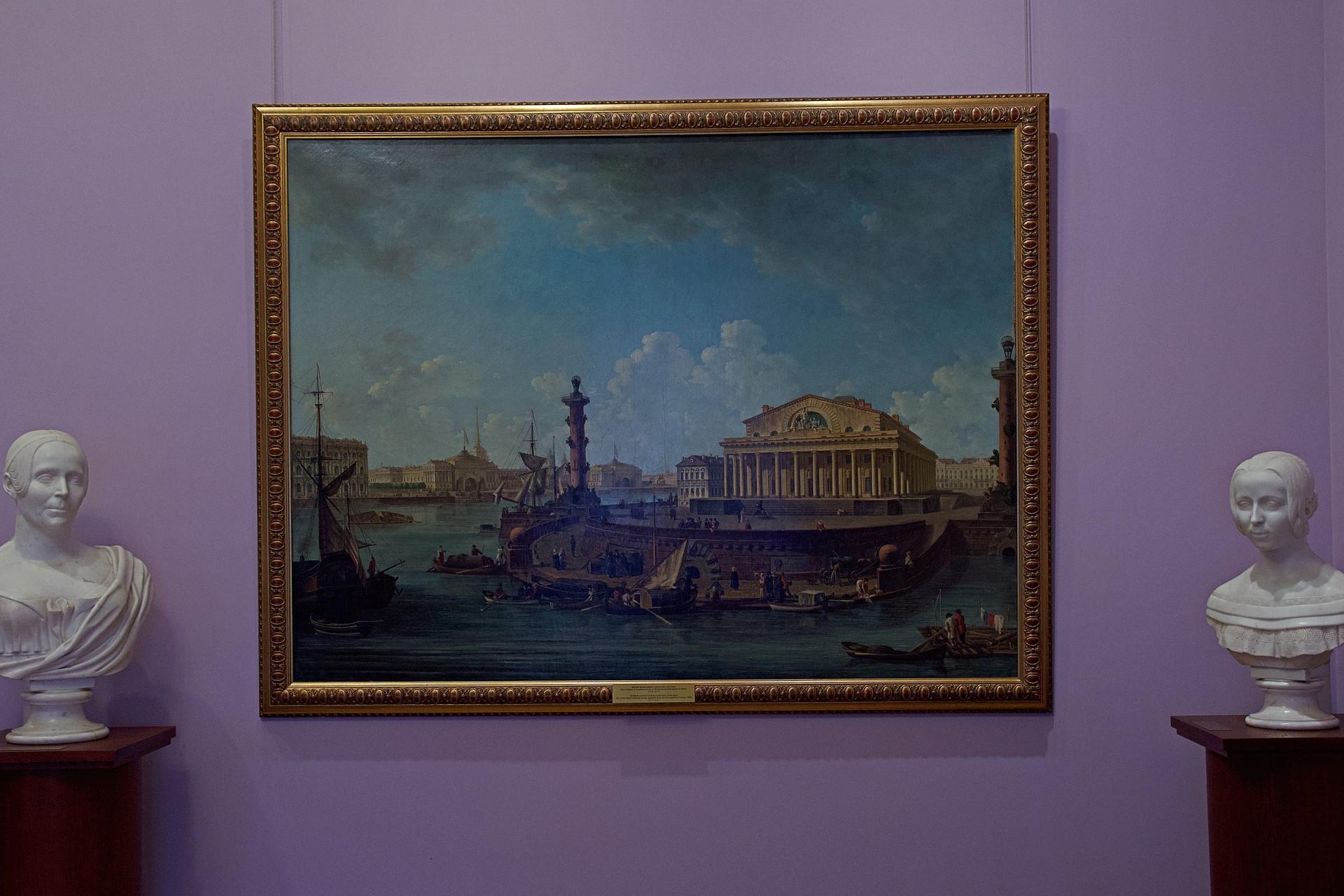 Und auch Sankt Petersburg selbst ist natürlich vertreten - als Gemälde von Fjodor Alexejew (1753-1824): Blick von der Peter-und-Paul-Festung auf die Börse und Admiraltejstwo,1810