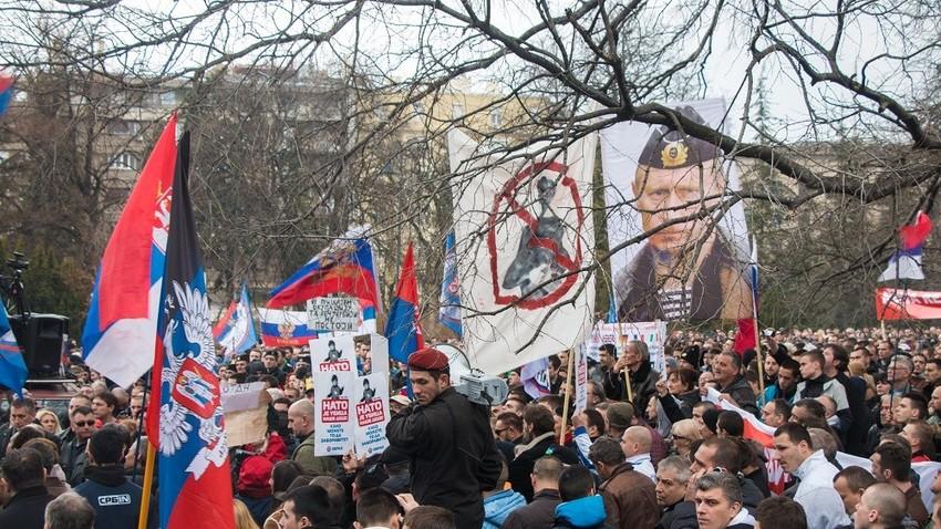 Београд, 20. фебруар 2016., демонстрације против споразума са НАТО-ом.
