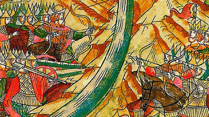 Стоење на реката Угра. Минијатура во руски летопис од 16 век.