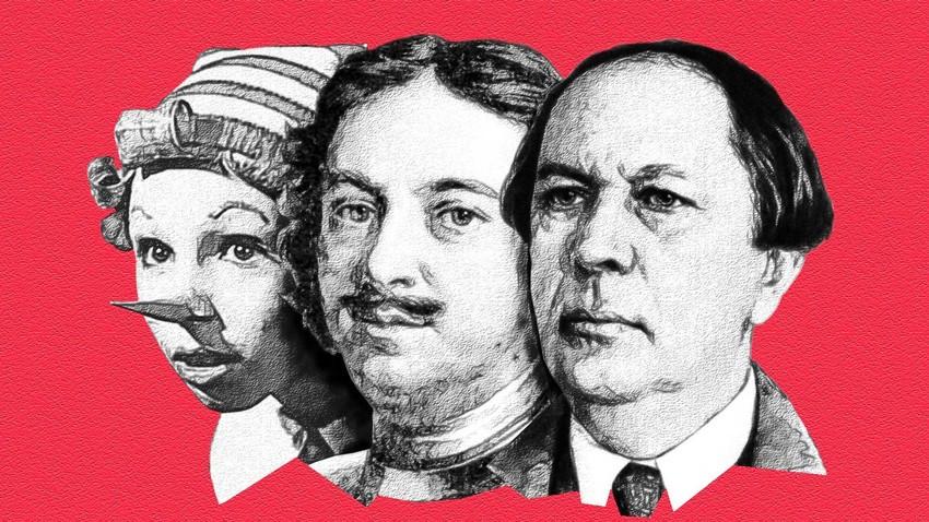 """Da esq. para dir.: Buratino (o """"Pinóquio russo""""), Pedro, o Grande e Aleksêi Tolstói."""