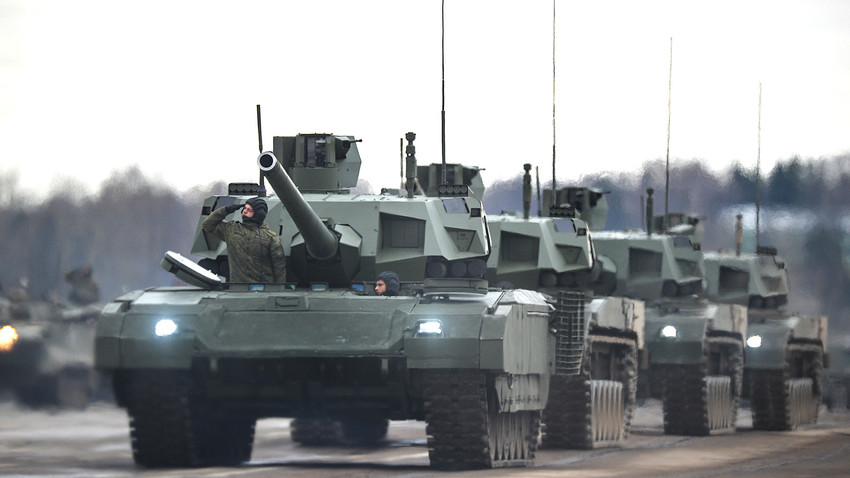 Russian T-14 Armata tanks during a military parade rehearsal.