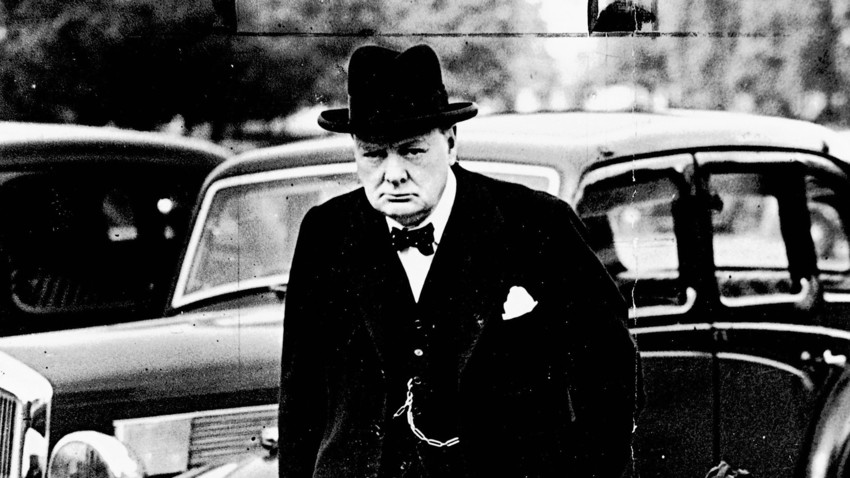 Winston Churchill (1874-1965), the First Lord of the Admiralty, arriving at Downing Street, where the War Cabinet met to discuss Russia's intervention in Poland. Picture taken in 1939
