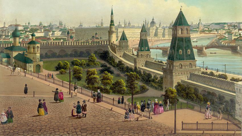 Orfanato de Moscou (vista panorâmica em 10 partes), 1848. Benois, Philippe.
