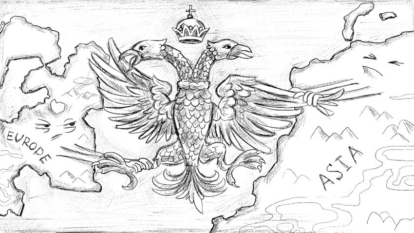 Bahkan lambang negara Rusia merefleksikan sifat ganda: satu kepala elang menghadap Eropa, satunya lagi ke Asia.