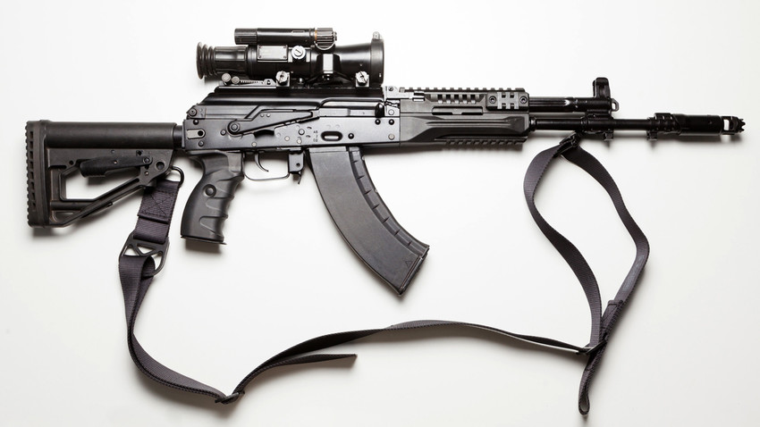 The AK-12 is chambered with 5,45 mm rounds and can as well use AK-74 magazines.