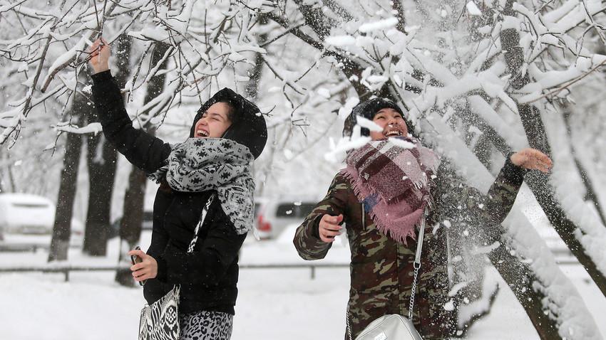 Una fuerte nevada en Moscú.