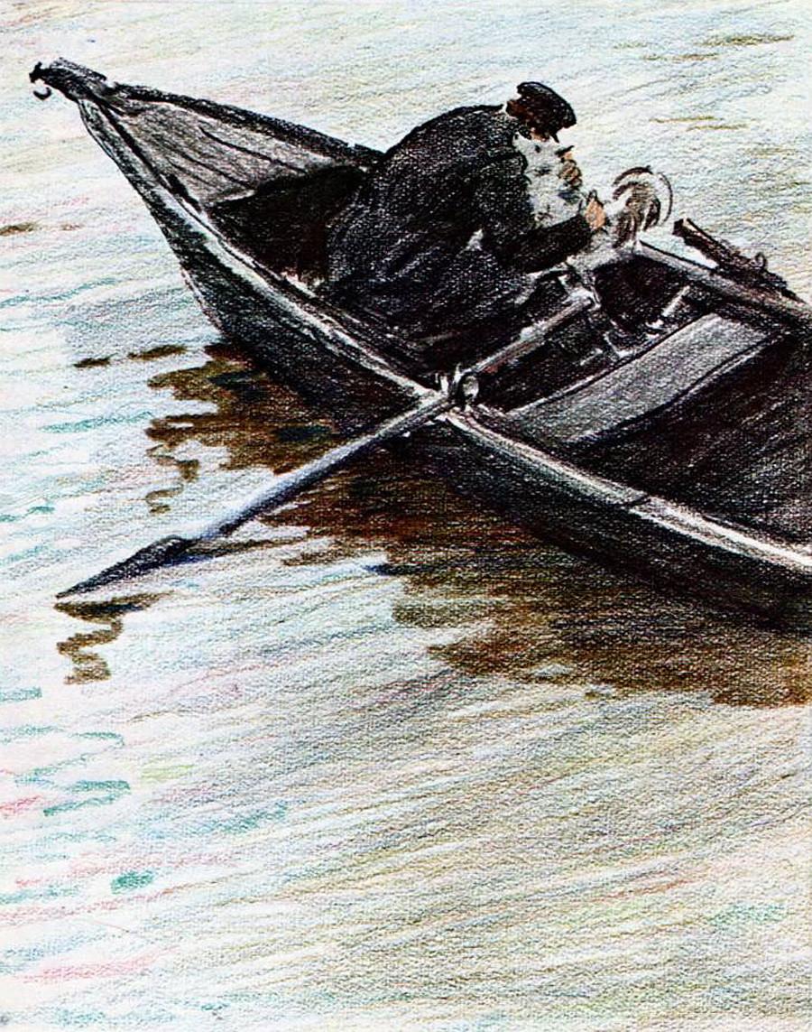 Слуга Герасим грли пса по имену Муму, пре него што ће га по наредби своје госпође бацити у воду.