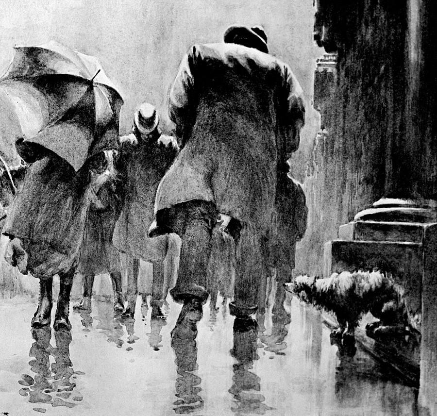 """Илустрација уз причу Антона Чехова """"Каштанка"""", 1903, акварел, Д. Кардовски."""