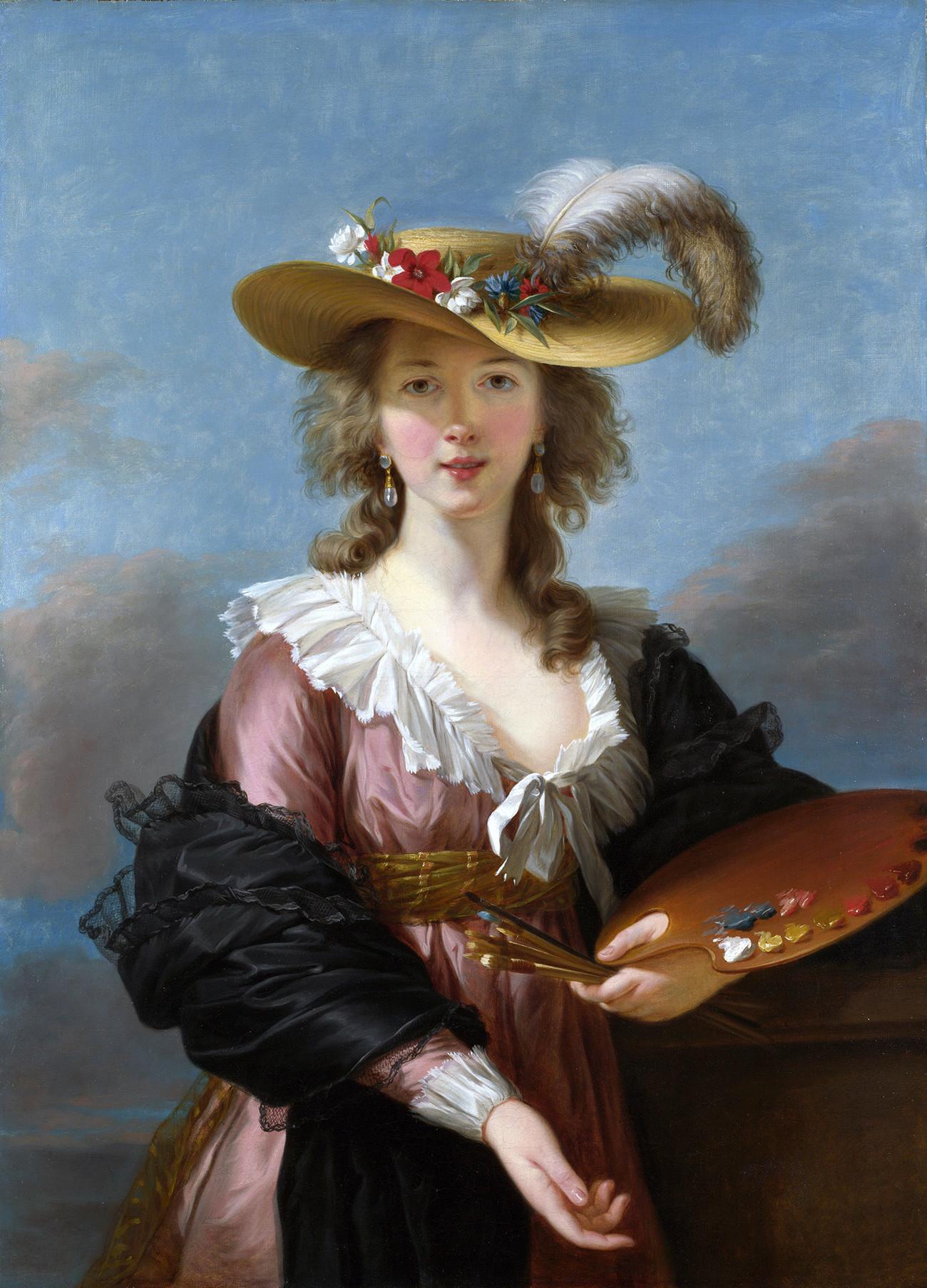 Elizabeth Vigée-Lebrun. Potret diri dengan Topi Jerami.