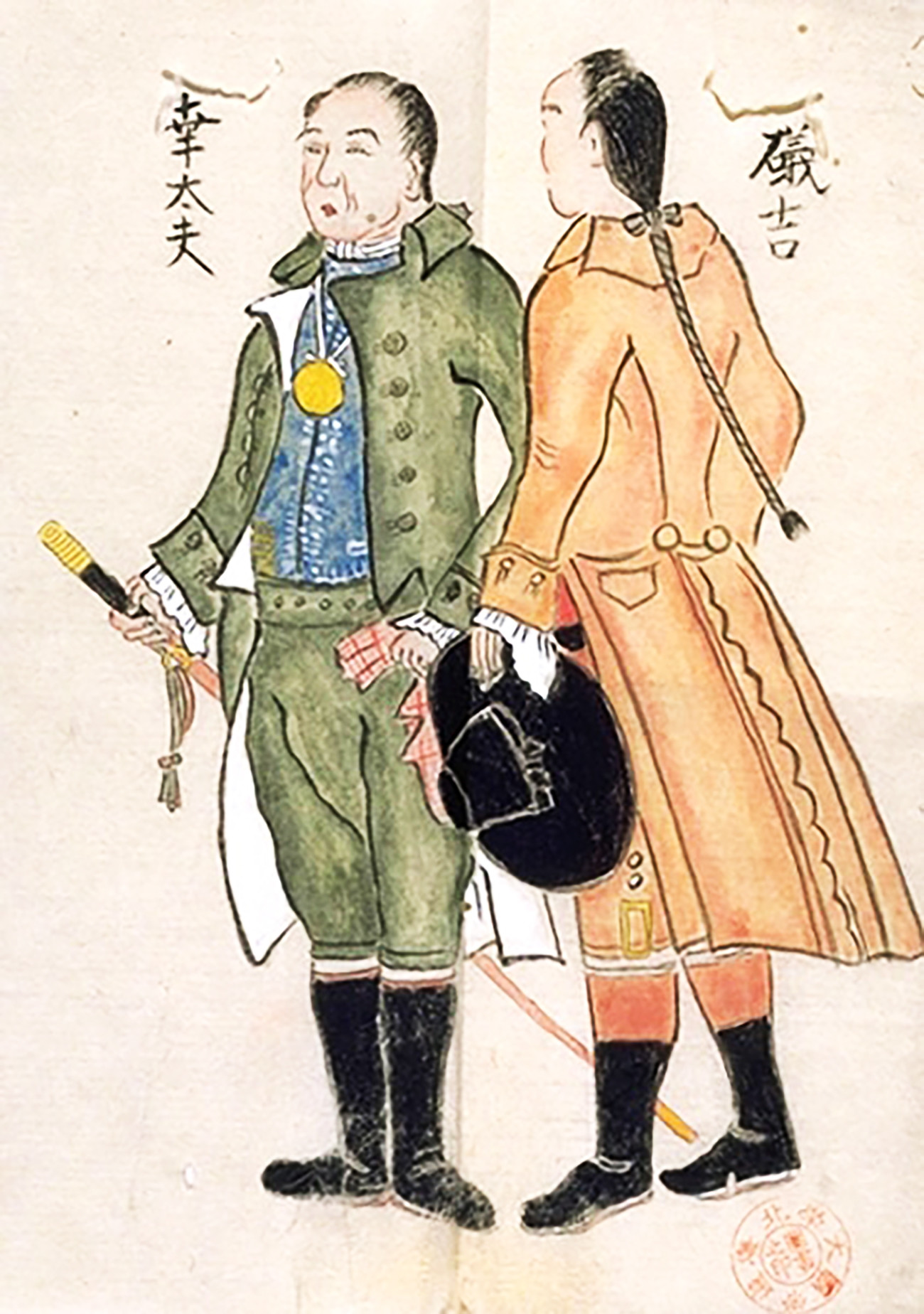 Kembalinya Kodayu dan Isokichi, Dua Korban Kapal Karam dari Jepang, karya Adam Laxman, 1792.