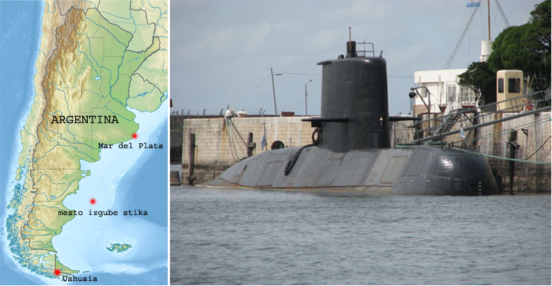 LEVO: zemljevid izginotja podmornice, DESNO: podmornica ARA San Juan (S-43)
