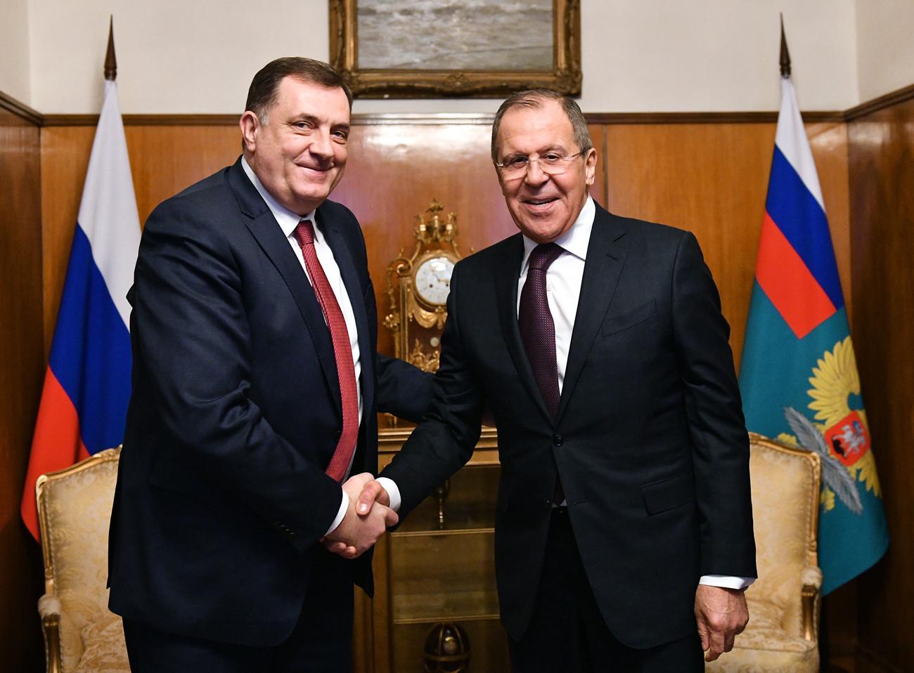 Председник Милорад Додик и руски министар спољних послова Сергеј Лавров.