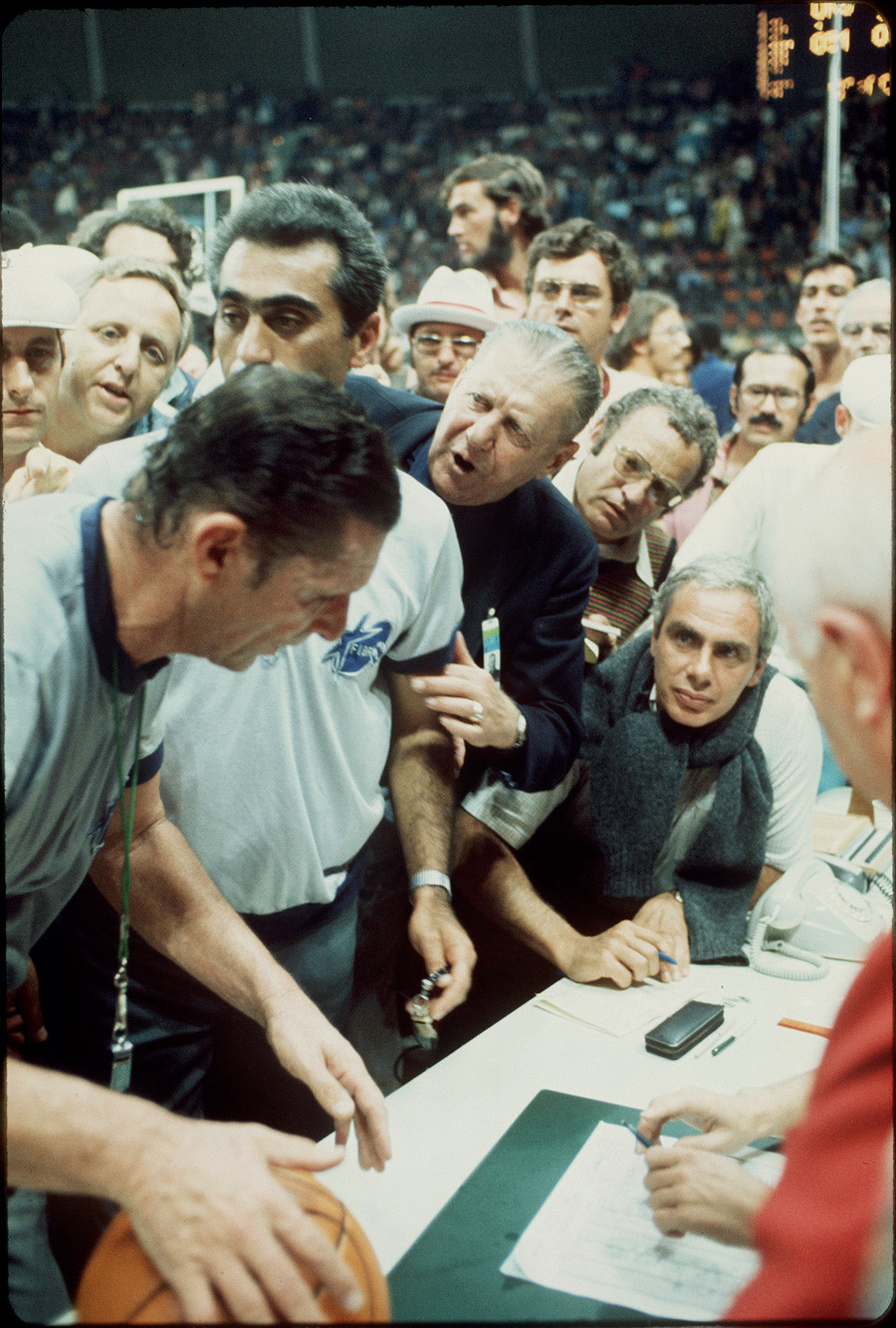 US basketball team tries to question the decision of the officials giving the gold medal to the Soviet Union in at the Olympic games in Munich