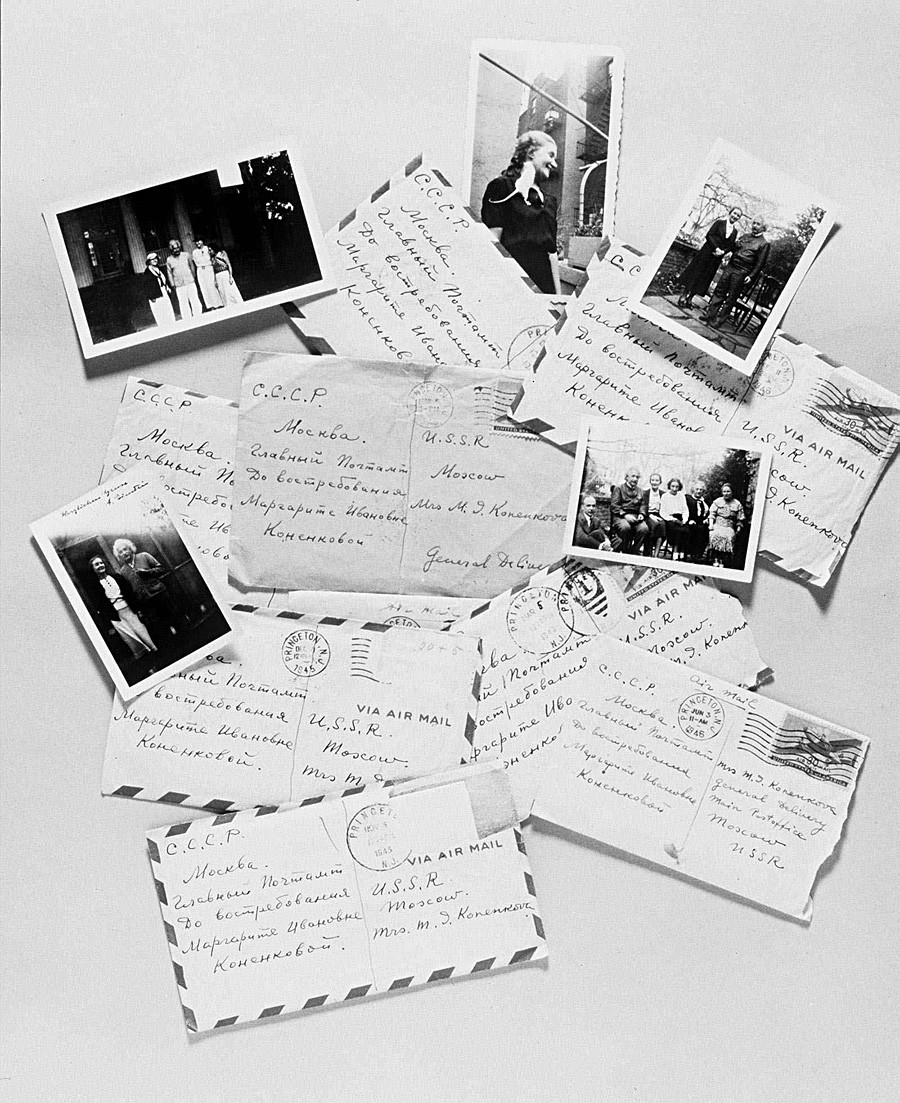 A collection of letters from Albert Einstein to Margarita Konenkova, along with photos of the pair, are shown in a photo released by Sotheby's