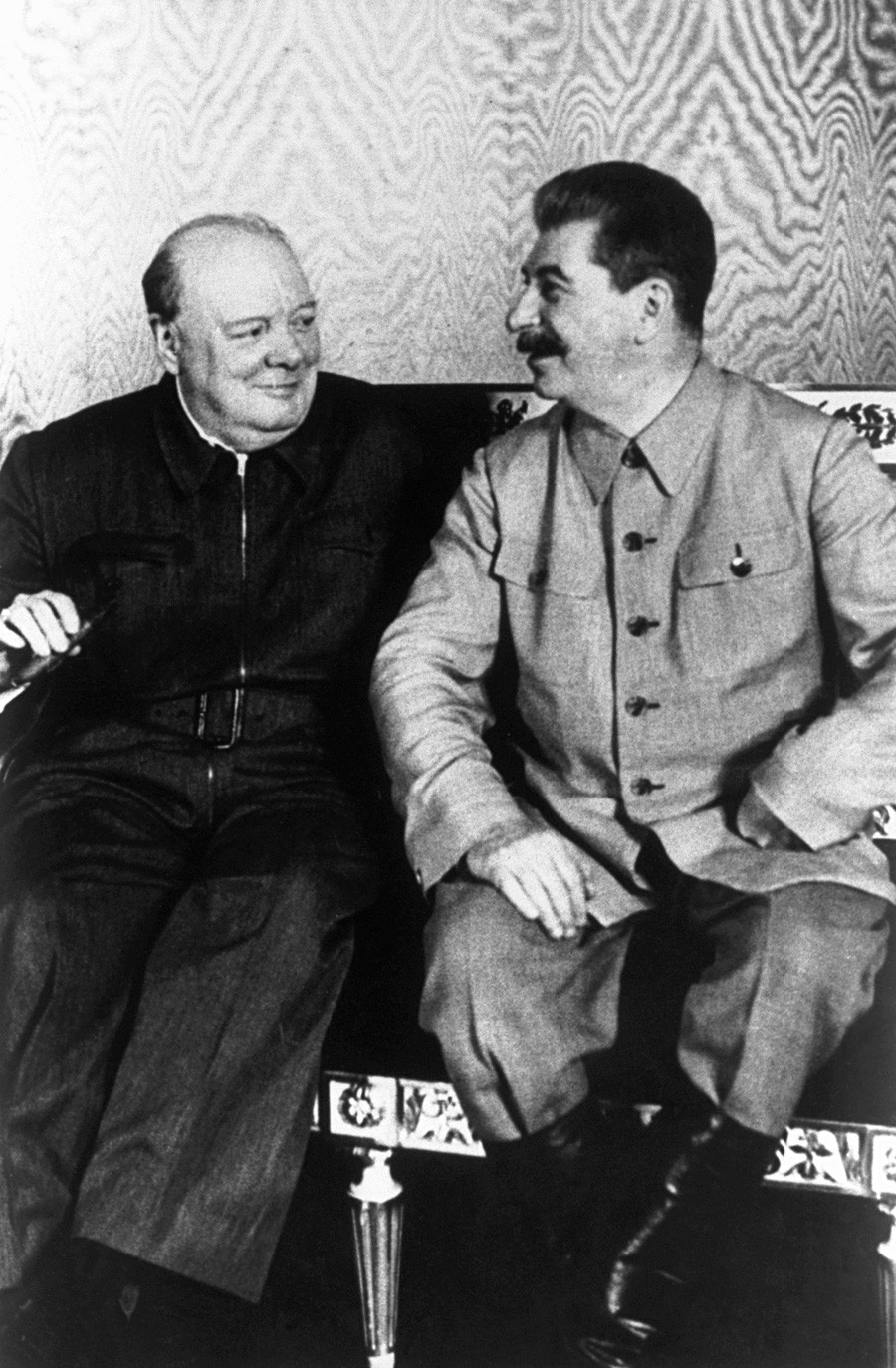 Joseph Stalin and Winston Churchill sit in the Kremlin in Moscow.