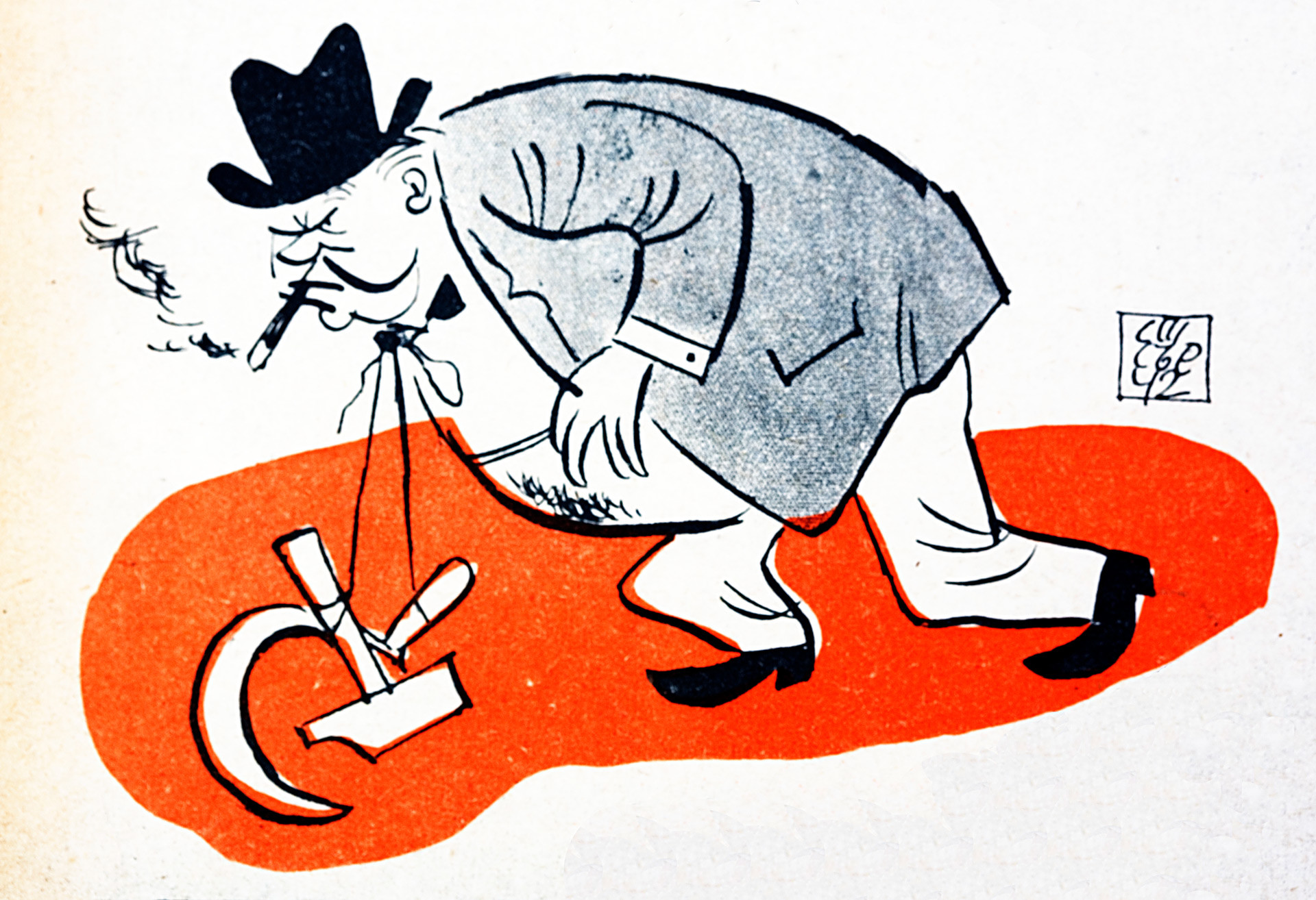 Pro-Nazi caricature showing Winston Churchill weighed down by the Communist hammer and sickle, symbolizing his alliance with Russia.
