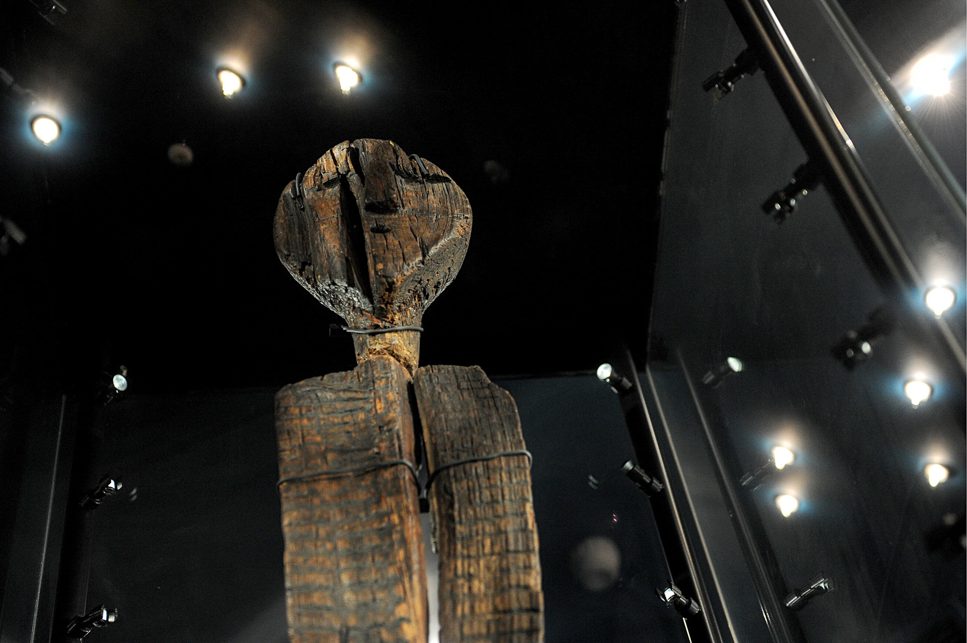 The Shigir Idol, the most ancient wooden sculpture, displayed at the Sverdlovsk Regional Lore Museum.