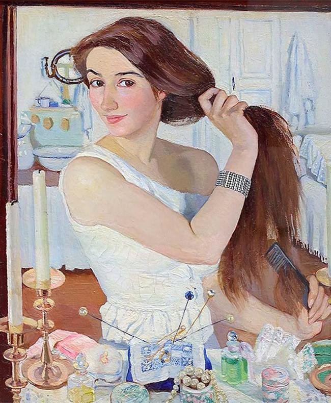 Devant la coiffeuse. Autoportrait, 1909.