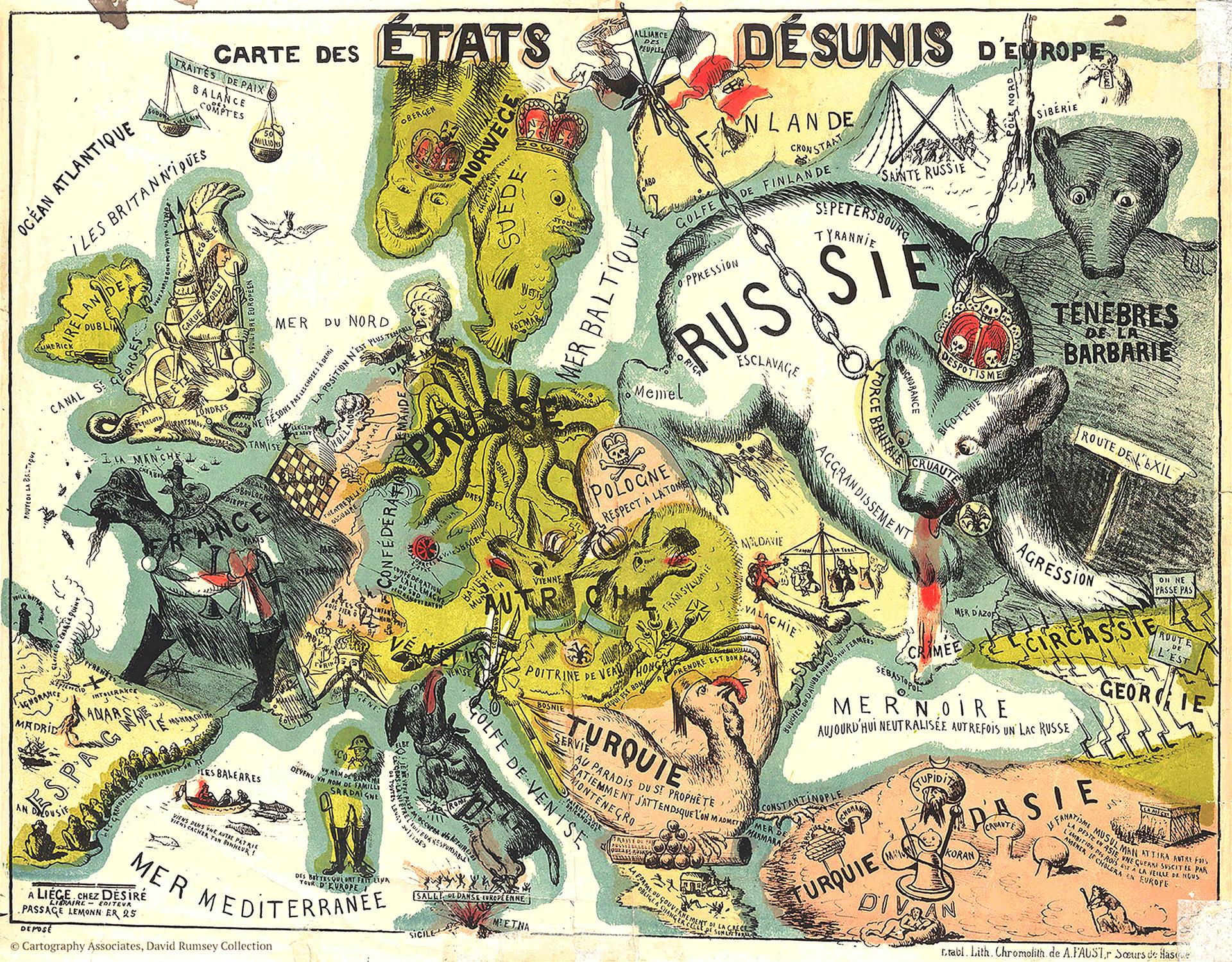 Un mapa belga de 1864.