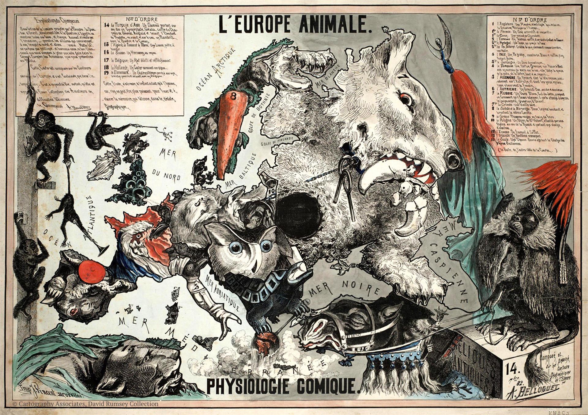 Otra de las sátiras de Andre Belloguet, realizada en 1882.
