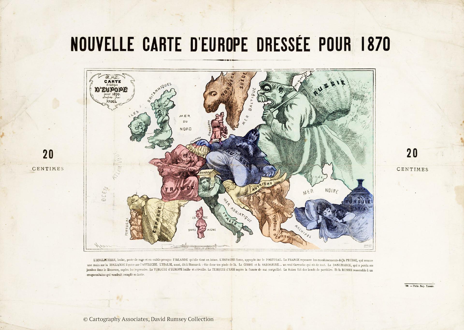 Un mapa realizado en la víspera de la guerra franco-prusiana de 1870.