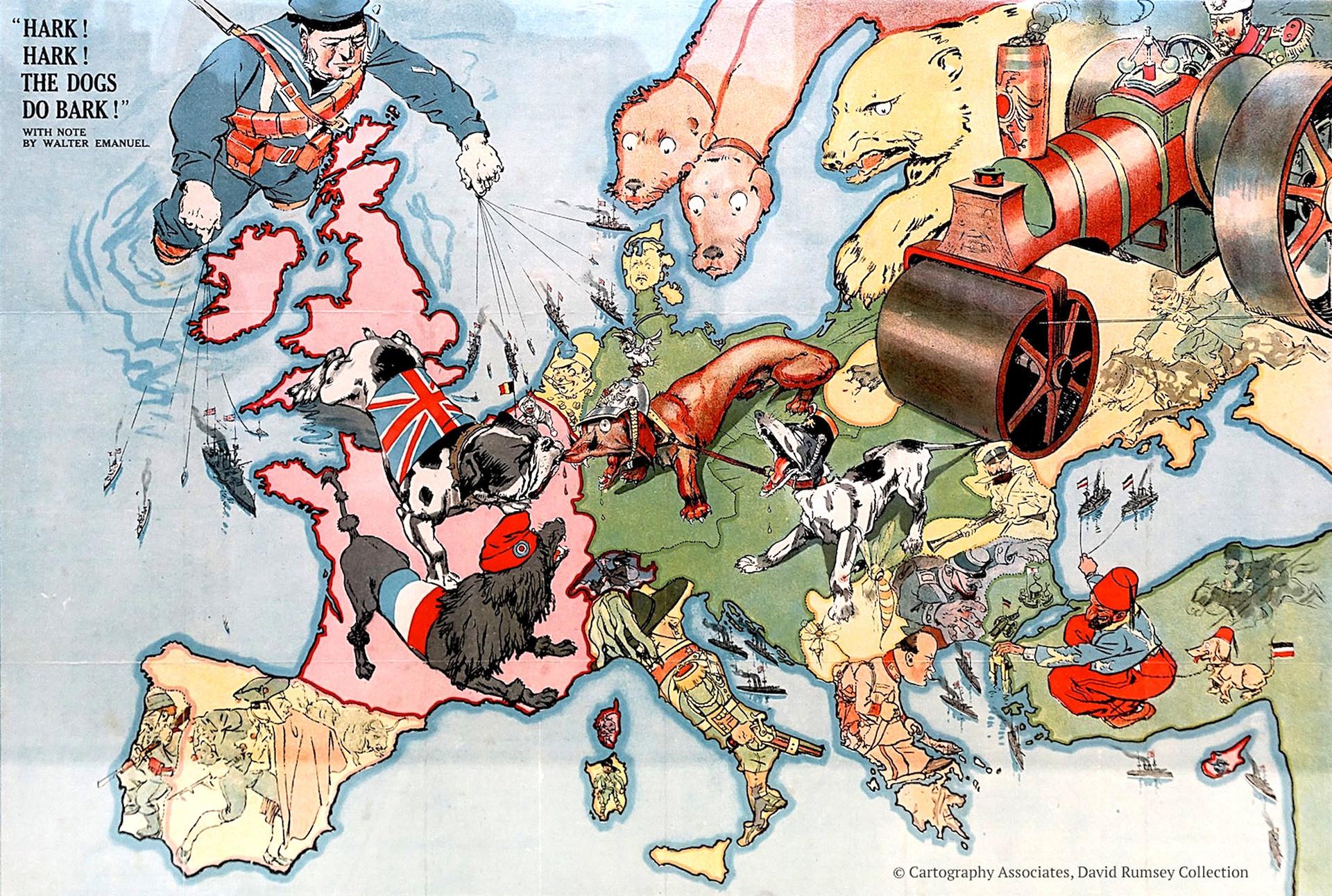Un mapa que representa la Primera Guerra Mundial.