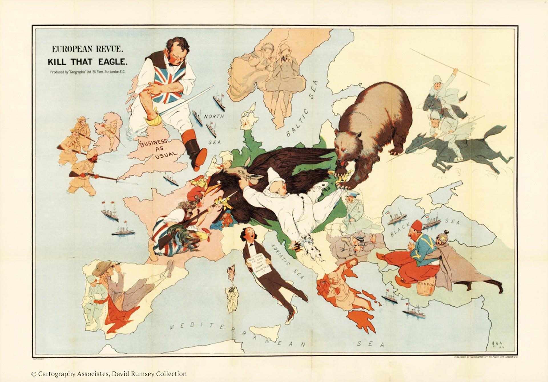 Otro mapa que representa los países en la época de la Primera Guerra Mundial.