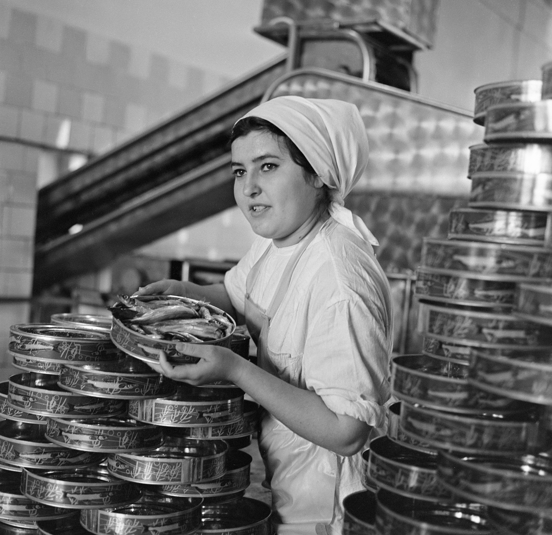 Fábrica de processamento de peixes em Murmansk, 1971.