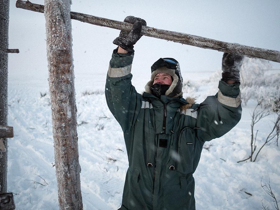 Andréi cierra la barrera después de que los renos hayan sido llevados desde la tundra al prado. A veces pasa semanas o meses solo en la tundra, ocupándose de la manada y reparando las instalaciones de madera.